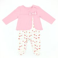 Wholesale Cherry Romper - Baby Girls Romper Fall Fake Two Piece Cherry Printed Long Sleeve Cotton Soft Infant Clothing Jumpsuit