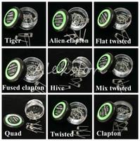 boks direnci toptan satış-Düz bükülmüş tel Sigortalı clapton bobinleri Hive premade wrap teller Alien Mix bükülmüş Quad Tiger 9 Farklı Isıtma Direnci 10 adet / kutu Ecig için
