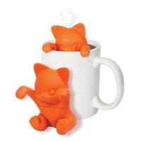 Wholesale Wholesale Diffuser Kits - Cartoon Cat Tea Infuser Silicone Loose Animal Tea Leaf Strainer Herbal Spice Filter Diffuser Tea Makers Tool Kit Teaspoon 100pcs OOA3428