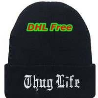 Wholesale Thug Life Knitted Hats - DHL Free Beanies solid Color Hat Unisex Plain Warm Soft Beanie Skull Knit THUG LIFE cap Knitted thickness Touca Gorro Caps