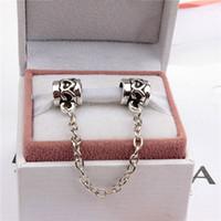 güvenlik tarzı toptan satış-Kalp Emniyet Zinciri Moda Kadınlar Takı 925 Gümüş Kaplama Güzel Pandora Bilezik Charm Boncuk Avrupa Tarzı 006