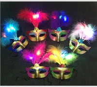 Wholesale Masquerade Masks Wedding Favors - 2015 Cute Lovely Mini LED Feather Mask Halloween Decoration Venetian Masquerade Party Flower Beads Princess Kid Gift Favors K5239