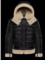 ingrosso uomini di rivestimento in panno nero-M10 Marca Uomo Inverno Nero Giacca in pelle e tessuto TANCREDE Modello Alta Qualità Calda Plus Size Uomo Giù e giacca giacca a vento parka