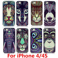 Wholesale Iphone Aztec Elephant Case - Wholesale-New Fashion Cute Aztec Animal Case Cover For Apple iPhone 4 4S Elephant Tiger Owl Orangutan Bear Kitten Wolf Painted Back Lucky