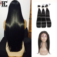 Wholesale Mixed Synthetic Hair Weave - 360 Full Lace Frontal Closure With 3 Bundles Brazilian Straight Virgin Hair Peruvian Indian Malaysian Cambodian Mongolian Human Hair Weaves