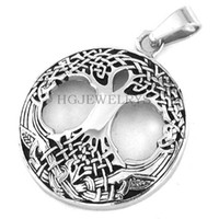 Wholesale Wholesale Claddagh - Free shipping! Celtic Knot Life Tree Pendant Stainless Steel Jewelry Claddagh Style Pendant Fashion Women Biker Pendant SWP0193H