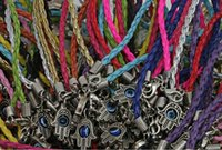 Wholesale Good Luck Bead Bracelets - Fashion Jewelry Vintage Silvers Evil Eye Kabbalah Hand Weave Leather Charms Good luck Red Rope Bracelet Bangles For Womens 50pcs Z1451