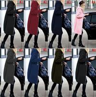 Wholesale Wholesale Oversized Jumpers - Women Zipper Open Hoodie Sweatshirt Long Coat Jacket Top Outwear Winter Warm Oversized Jumper 8 Colors 10pcs OOA3271