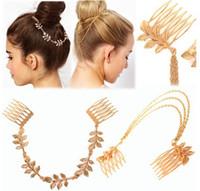 Wholesale Hair Clip Comb Chains - Womens Personality Golden Tone Leaf Hair Cuff Chain Comb Headband Hair Band Hair Accessory