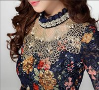 Wholesale cheap printed blouses - Women lace blouse top fashion ruffled neck long sleeve flora printed hot tops for women long sleeve lace tops cheap cute blouse