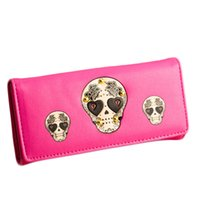 Wholesale Skull Handbag Retro - 7 colors New Fashion Women Wallet Women's Long Skull Pu Leather Grasp Retro Plaid Zipper Punk Pattern Change Carteira Handbag Purse Feminina