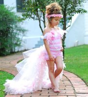 Wholesale Hi Low Feather Gown - Pretty High Low Girl's Pageant Dress Off-Shoulder Sleeveless Feathered Beading Pageant Gowns Pink Sheath Flower Girls Dresses For Weddings