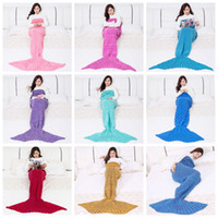 Wholesale airs cashmere - Mermaid Blankets Cashmere Knitted Mermaid Tail Blanket Mermaid Sleep Bag Sofa Blanket Sofa Air Condition Sleeping Bags 13 types YFA105