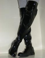 sobre los cargadores de los hombres de la rodilla al por mayor-Botas sobre la rodilla de los zapatos de los hombres de la moda, zapatos de baile de poste con cordones traseros de cuero de la PU, botas de motocicleta con cremallera lateral, tamaño de los EEUU 6.5-10