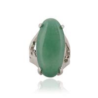 Wholesale chinese green stone - 12 piece Lot High Quality Natural Stone Ring Charm Green Stone Ring For Women Chinese jewelry