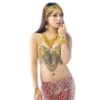 Wholesale indian bollywood dancing - BELLY DANCE HEADPIECE NECKLACE BRACELETS EARRINGS COSTUME JEWELRY BOLLYWOOD DANCING PROPS Belly Dance Jewelry Sets Free shipping