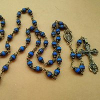 Wholesale Metal Rosaries - Fashion Religious Jewelry Long Design Blue Resin Beads Metal Anqitue Catholic Cross Rosary Necklace With Cup