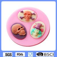 Wholesale Silicone Baking Molds Halloween - Halloween skull fondant mold for cake decorating FDA silicone cake mold baking tools chocolate pudding molds