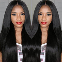 Wholesale Half Head Straight Wigs - Brazilian full lace human hair wigs or Full Head Lace Front Wig Natural straight wigs for black women