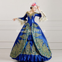 ingrosso abito di sfera vittoriano blu reale-2016 Royal Blue Palace Catwalk Dance Costume donne Vintage Victorian Party Dress Marie Antoinette Masquerade Ball Gowns