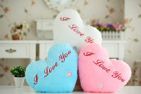 Wholesale Pink Valentine Heart Lights - Colorful LED light pillow, lucky heart star shaped glow pillow best gift, led music pillow for valentine Christmas Free shipping