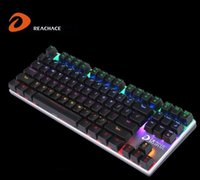 All'ingrosso-DaEryou Meccanico Rinbow retroilluminato lega Custom Case USB LED 87 Tasti Kailh Blu interruttori meccanici Gaming Keyboard