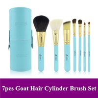 black canister sets - Hot Sale Mini goat hair Make Up Brushesset Kit with Roller Canister Case tube Dropshipping