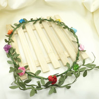 Wholesale Head Garlands - Travel Beach Leaves Rattan Colorful Wedding Garlands Bridesmaid Bridal Headband Flower Crown Bohemia Head Flower Girl Hair Accessory