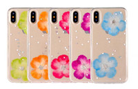 Wholesale Skins Pretty - Shiny Sparkling Glitter Style with Pretty Colorful Flowers Cell Phone Cases Soft TPU Transparent Skin for iphone X 7 8 plus 6 6s plus