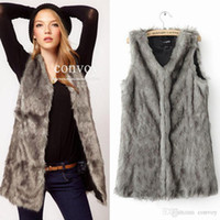 Wholesale Womens Fashion Fur Vest - New Womens Faux Fox Fur Vest Waistcoat Ladies sleeveless Long Hair Warm Medium Length Vest Jacket Coat S-XXXL free shipping WT195