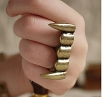 Wholesale Teeth Double Ring - Wholesale Vintage Silver Bronze Goth Vampire Fangs Teeth Punk Biker Two Double Finger Ring 60332,60333