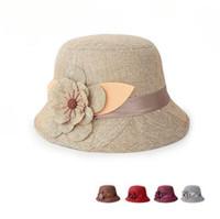 chapéus de palha floridos para mulheres venda por atacado-Mulheres Linho Sunshade Chapéu Respirável Oco Out Flor Princesa Chapéu de Palha Verão / Primavera Senhora Meninas Moda Caps Presentes Perfeitos AF486