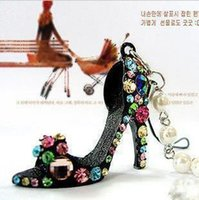 Wholesale Wholesale High Heel Beaded Shoes - Wholesale-(Min order is $10) E9003 queer accessories colorful crystal high-heeled shoes beaded lanyards mobile phone chain