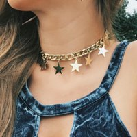 Wholesale Twisted Chunky Choker Necklace - Fashion Chokers Alloy Chunky Twisted Link Chain Ladies' Statement Choker 2018 Necklace sequins stars tassel Women Necklaces hip hop jewelry