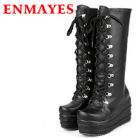 Wholesale Gothic High Heels - Wholesale- ENMAYES New 2017 Gothic Punk Shoes Cosplay Boots Knee High Heel Platform Sexy Zip Winter Wedges Knee High Boots