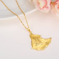 Wholesale golden maps - Ethiopian Map Necklace for Women Men Gold Color Original Ethiopia Old Map Pendant Necklaces Jewelry pendant