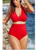 Wholesale Mini Bikini Swim - Swimwear sexy womens bikinis swim bathing suit halter mini bikini swimsuits plus size women swimwear split chest pad swimsuit for women