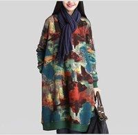 kişiselleştirilmiş elbise gömlekleri toptan satış-Toptan yeni kişiselleştirilmiş damga rahat kazak uzun kollu sonbahar büyük pamuklu gömlek kadın gevşek ceket elbise