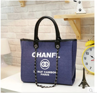 Wholesale cell phones names - Famous fashion brand name women handbags new travel Canvas Shoulder bag chains of large capacity bags