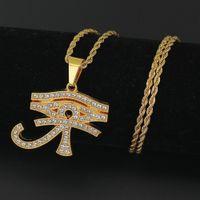 Wholesale Eagle Pendant Necklace - New Arrival Hiphop Pendant Necklaces Pharaoh patron saint Horus Eye Egyptian talisman Eagle Head God eye pendant Hip hop Chains