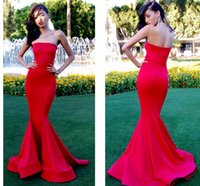 Wholesale Cheap Import Dress - New Arrival Strapless Long Sexy Red Prom Dresses 2015 Imported Cheap Mermaid Celebrity Evening Party Gown Vestido de Formatura GD-711