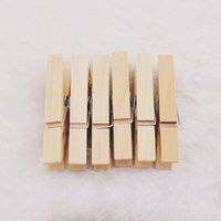 Wholesale Natural Wooden Clothes Pegs - Free shipping 25MM Mini Wooden Peg Photo Paper Clothe Natural Clothespin Craft Clips Natural Decoration 50PCS