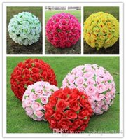 Wholesale Large Christmas Ball Ornaments - 2015 New Artificial Encryption Rose Silk Flower Kissing Balls Large Hanging Ball Christmas Ornaments Wedding Party Decorations