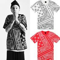 Wholesale Red Bandana Shirt Men - KTZ Hip Hop T Shirt Red Bandana Shirt Women Mens Short Sleeve Loose Streetwear Plus Size 3XL 4XL 5XL Kanye West Justin Bieber
