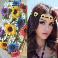 Wholesale Ladies Fabric Headbands - 2015 women Fashion Bride Bohemian sun Flower Headband hair band lady hair bands lady Festival Wedding Floral Garland Hair Band