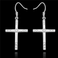 Wholesale Cute Rhinestone Cross Earrings - Top quality 925 Sterling Silver Cross Dangle Earrings with Zircon fashion jewelry pretty cute Christmas gift free shipping
