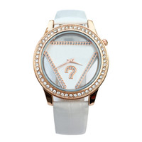 Wholesale Fashion Brand women s Girl crystal triangle style dial leather strap quartz wrist watch GS05