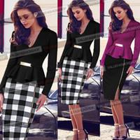Wholesale Peplum Xxl - Spring Dresses for Womens New Career Dresses Plus Size V-neck Long-sleeved Dress Lotus Leaf Slit Pencil Skirt 3 color S-XXL