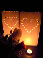 outdoor candle holders lanterns - 20 Heart Tea light Holder Luminaria Paper Lantern Candle Bag For BBQ Christmas Party Home Outdoor Wedding Decoration