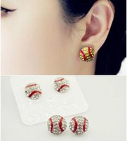 Wholesale Cheap Wholesale Stud Earrings - 2016 Wholesale 10pcs softball ear stud cheap discount Bling Baseball Softball Stud USA hot sale softball beaded round shape earring stud
